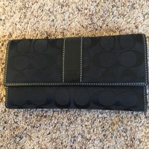 Black Signature print Coach wallet